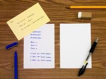荷兰语;学会在笔记本的新的语言文字词 库存照片