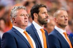 荷兰足球队员胡斯・希丁克的前教练 免版税图库摄影