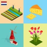 荷兰风车和五颜六色的郁金香开花,荷兰 标志荷兰乳酪,风车,郁金香,旗子 平的3d传染媒介 皇族释放例证