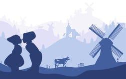 荷兰,荷兰 在风景退色的背景的荷兰国家标志剪影 向量例证