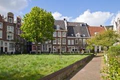 荷兰,阿姆斯特丹,庭院, Begijnhof 免版税库存照片
