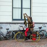 荷兰-乌得勒支- 2015年10月25日:现代荷兰嬉皮乘驾乘街市自行车 2015年10月25日在乌得勒支-荷兰 库存图片