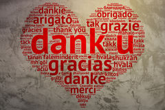 荷兰阴湿的U,心形的词云彩感谢,难看的东西背景 免版税库存照片