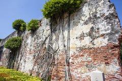 荷兰VOC安屏堡垒的老墙壁在台南,台湾 免版税库存图片
