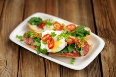 荷包蛋三明治用辣椒、有选择性的薤和的蒜味咸腊肠 库存图片