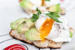 荷包蛋用在白面包的鲕梨 库存图片