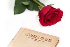 莎士比亚书和红色玫瑰 库存图片