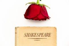 莎士比亚书和红色玫瑰 免版税库存图片