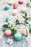 莓、有薄荷味和香草蛋白杏仁饼干和白花 免版税库存图片