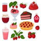 莓传染媒介berrying新鲜的汁液的成熟红色莓果或水多的果酱和甜点心结块与冰淇凌例证 皇族释放例证