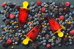 莓冰淇凌顶上的射击 库存图片