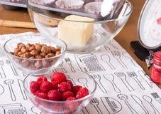 莓和榛子在玻璃碗 库存照片