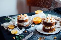 莓杯形蛋糕 用raspberr盖的一个奶油色蛋糕的特写镜头 免版税库存照片