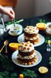 莓杯形蛋糕 用raspberr盖的一个奶油色蛋糕的特写镜头 图库摄影