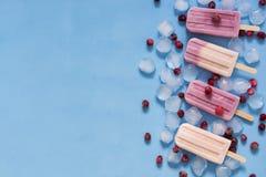 莓果与冰块和莓果的冰淇凌在蓝色背景 在棍子的桃红色和紫色冰淇凌 顶视图,拷贝空间 Summe 库存图片