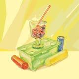 莓果和色的罐头油漆 库存照片