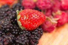 莓果的混合在o木桌上的 库存图片