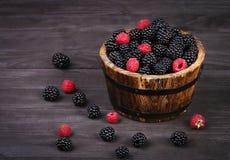 莓果莓和黑莓在篮子 库存图片
