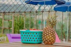 莓果菠萝食物和桌 免版税库存图片