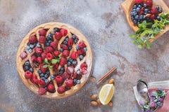 莓果馅饼用在上面的搽粉的糖 库存图片