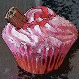 莓梦想杯形蛋糕 免版税库存图片