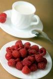 莓用牛奶 库存图片