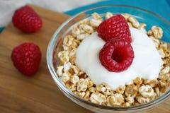 莓酸奶和被拼写的剥落健康早餐 免版税库存照片
