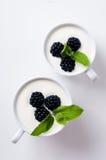 黑莓,果子奶油色点心在被隔绝的两个杯子中 库存照片