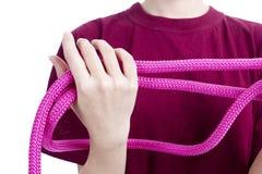 莓绳索在女性手上 库存照片
