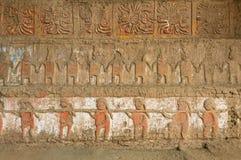 莫切文化月亮金字塔浅浮雕,秘鲁 免版税库存图片