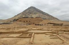 莫切文化月亮金字塔,特鲁希略角,秘鲁 免版税库存图片