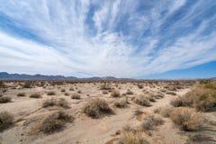 莫哈维族与蓝色多云天空的沙漠风景 库存照片