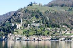 莫尔科特村庄湖的卢加诺 免版税图库摄影