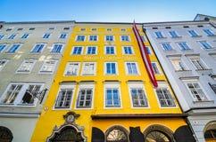 莫扎特出生地在萨尔茨堡,奥地利 图库摄影