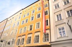 莫扎特出生的著名议院,萨尔茨堡 免版税库存照片