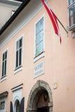 莫扎特` s住宅房子在萨尔茨堡,奥地利 免版税库存照片
