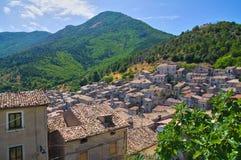 莫拉诺卡拉布罗全景  卡拉布里亚 意大利 库存图片