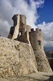 莫拉诺卡拉布罗城堡, Pollino国家公园,意大利 库存图片