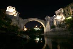 莫斯塔尔桥梁在晚上 图库摄影