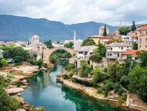 莫斯塔尔桥梁在波黑 库存图片