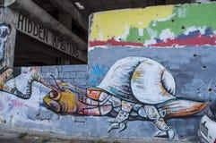 莫斯塔尔,Staklena Banka,老玻璃银行,街道画,壁画,波黑,欧洲,街道艺术,地平线,波士尼亚战争 图库摄影