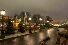 莫斯科、克里姆林宫和亚历山大视域从事园艺, 免版税库存图片