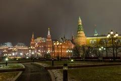 莫斯科、克里姆林宫和亚历山大视域从事园艺, 库存图片