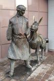 莫斯科。有驴雕塑的赫亚Nusreddin 免版税库存照片