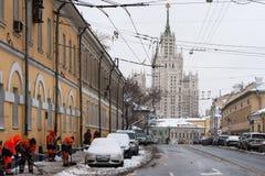 莫斯科上部Radishevskaya街道在冬天 库存图片