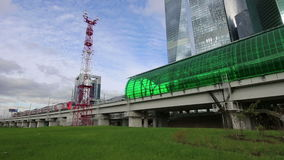 莫斯科中央圈子-国际商业中心城市的一点圆环、MCC或者MK MZD和摩天大楼,俄罗斯 Delovoy 股票录像