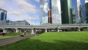 莫斯科中央圈子-国际商业中心城市的一点圆环、MCC或者MK MZD和摩天大楼,俄罗斯 Delovoy 影视素材