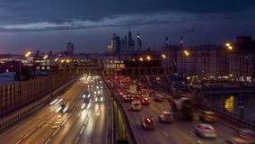 莫斯科中心长的曝光录影Timelapse有交通的 股票视频