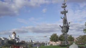 莫斯科中部都市风景 耶稣正统的大教堂品尝和纪念碑给彼得大帝-作为看的fr的第一个俄国皇帝 影视素材