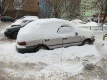 莫斯科俄国严重降雪冬天 免版税库存照片